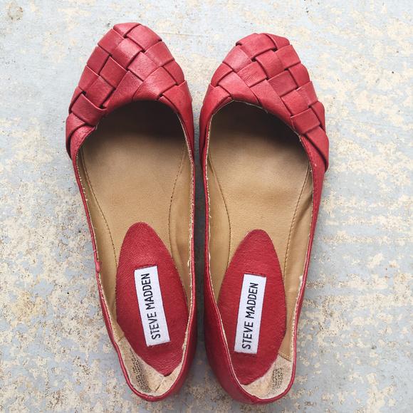 69e1594dca9 [STEVE MADDEN] Dover Weaved Leather Ballet Flats